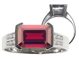 Tommaso Design™ Emerald Cut 9x7mm Genuine Garnet and Diamond Ring