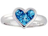 Tommaso Design Genuine Blue Topaz Invisible Set Heart Ring