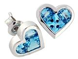 Tommaso Design Genuine Invisible Set Blue Topaz Earrings