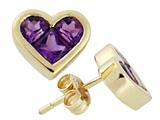 Tommaso Design Invisible Set Genuine Amethyst Heart Earring Studs