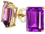 Tommaso Design Emerald Cut 8x6mm Genuine Amethyst Earrings