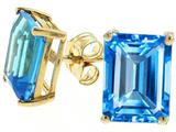 Tommaso Design Genuine Emerald Cut Blue Topaz Earrings