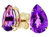 Tommaso Design Pear Shape Genuine Amethyst Earrings