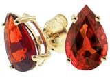 Tommaso Design Genuine Pear Shape Garnet Earrings