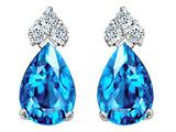 Tommaso Design™ Pear Shape 8x6mm Genuine Blue Topaz and Diamond Earrings