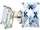Tommaso Design Genuine 8x6 Rare European Checkerboard Emerald Cut Aquamarine Earrings