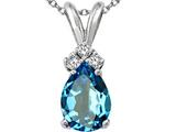 Tommaso Design™ Genuine Pear Shape Blue Topaz and Diamond Pendant