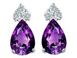 Tommaso Design Pear Shape 7x5mm Genuine Amethyst and Diamond Earrings