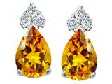 Tommaso Design Pear Shape 7x5mm Genuine Citrine and Diamond Earrings