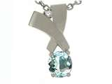Tommaso Design™ Round 6mm Genuine Aquamarine and Diamond Pendant