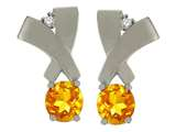 Tommaso Design Round 5mm Genuine Citrine and Diamond Earrings