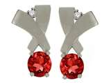 Tommaso Design Round 5mm Genuine Garnet and Diamond Earrings