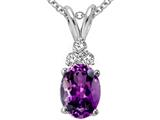 Tommaso Design™ Oval Genuine Amethyst and Diamonds Pendant