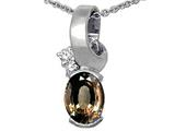 Tommaso Design™ Oval 8x6 mm Genuine Smoky Quartz and Diamond Pendant