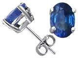 Tommaso Design Oval 7x5mm Genuine Sapphire Earring Studs