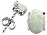 Tommaso Design Oval 8x6 mm Genuine Opal Earrings