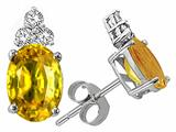 Tommaso Design Oval 7x5mm Genuine Yellow Sapphire and Diamond Earrings