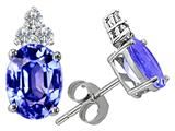 Tommaso Design™ Oval 7x5 mm Genuine Tanzanite and Diamond Earrings