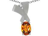 Tommaso Design™ Oval 7x5mm Genuine Orange Sapphire Pendant