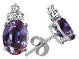 Tommaso Design™ Oval 8x6mm Simulated Alexandrite And Genuine Diamond Earrings