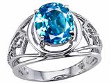 Tommaso Design Oval 10x8 mm Genuine Large Blue Topaz Ring