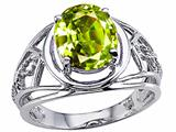 Tommaso Design Oval 10x8 mm Genuine Large Peridot Ring