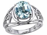 Tommaso Design™ Genuine Large Oval Aquamarine Ring