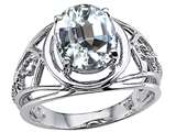 Tommaso Design™ Large Oval Genuine White Topaz Ring.