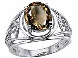 Tommaso Design Oval 10x8 mm Genuine Large Smoky Quartz Ring