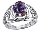 Tommaso Design Oval 9x7 mm Simulated Alexandrite Ring