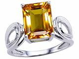 Tommaso Design™ Emerald Cut 10x8 mm Genuine Large Citrine Ring