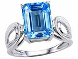 Tommaso Design Emerald Cut 10x8 mm Genuine Large Blue Topaz Ring