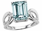 Tommaso Design Genuine Large Emerald Cut Aquamarine Ring.