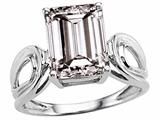 Tommaso Design™ Large Emerald Cut 10x8mm Genuine White Topaz Ring.