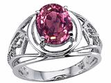 Tommaso Design Oval 9x7mm Genuine Large Pink Tourmaline Ring