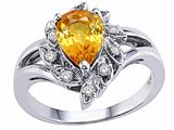 Tommaso Design™ Pear Shape 8x6 mm Genuine Yellow Sapphire and Diamond Ring