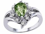 Tommaso Design™ Pear Shape 8x6 mm Genuine Green Sapphire and Diamond Ring