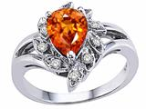 Tommaso Design Pear Shape 8x6 mm Genuine Orange Sapphire and Diamond Ring
