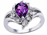 Tommaso Design™ Genuine Amethyst and Diamond Ring style: 24620