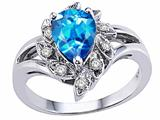 Tommaso Design™ Pear Shape 8x6mm Genuine Blue Topaz and Diamond Ring