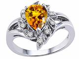 Tommaso Design Pear Shape 8x6 mm Genuine Citrine and Diamond Ring