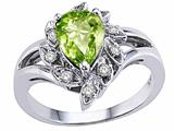 Tommaso Design™ Pear Shape 8x6 mm Genuine Peridot and Diamond Ring