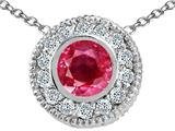 Tommaso Design™ Genuine Ruby and Diamond Pendant style: 24810