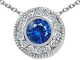 Tommaso Design™ Round 5mm Genuine Sapphire and Diamond Pendant