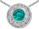 Tommaso Design™ Round 5mm Genuine Emerald and Diamond Pendant