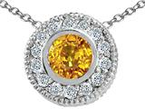 Tommaso Design™ Round 5mm Genuine Yellow Sapphire and Diamond Pendant