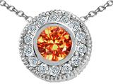 Tommaso Design™ Round 5mm Genuine Orange Sapphire and Diamond Pendant