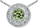Tommaso Design™ Round 5mm Genuine Green Sapphire and Diamond Pendant