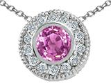 Tommaso Design™ Round 5mm Genuine Pink Sapphire and Diamond Pendant