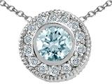 Tommaso Design Round 5mm Genuine Aquamarine and Diamond Pendant